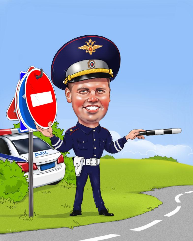 Шарж гаишника, карикатура на инспектора дпс
