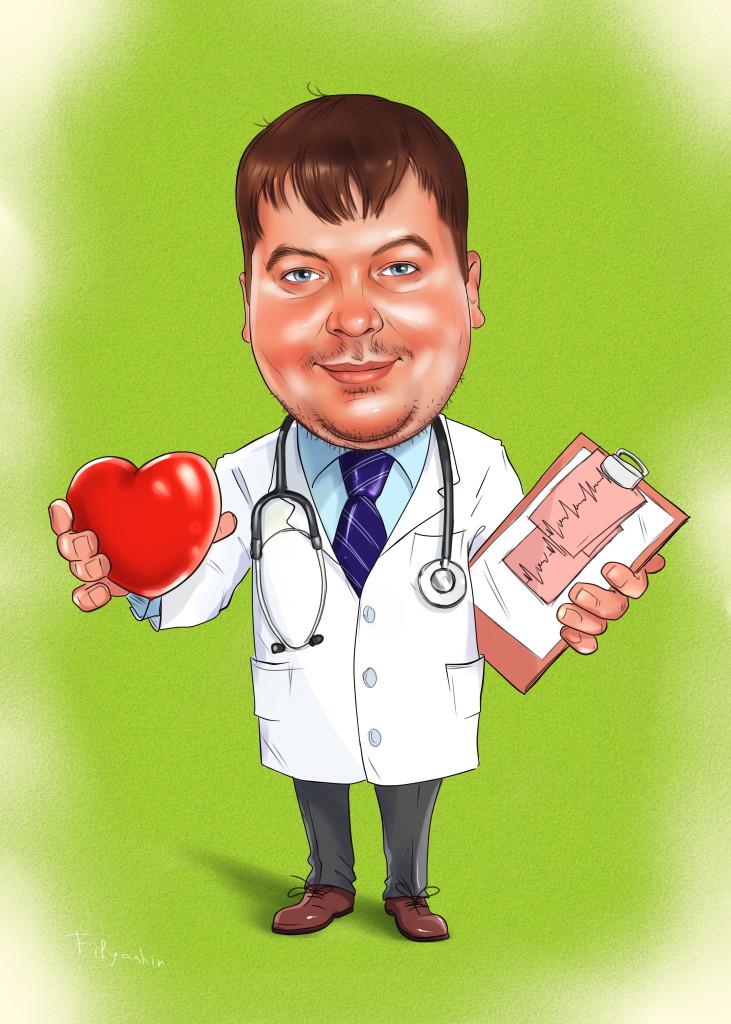 Шарж намужчину кардиолога