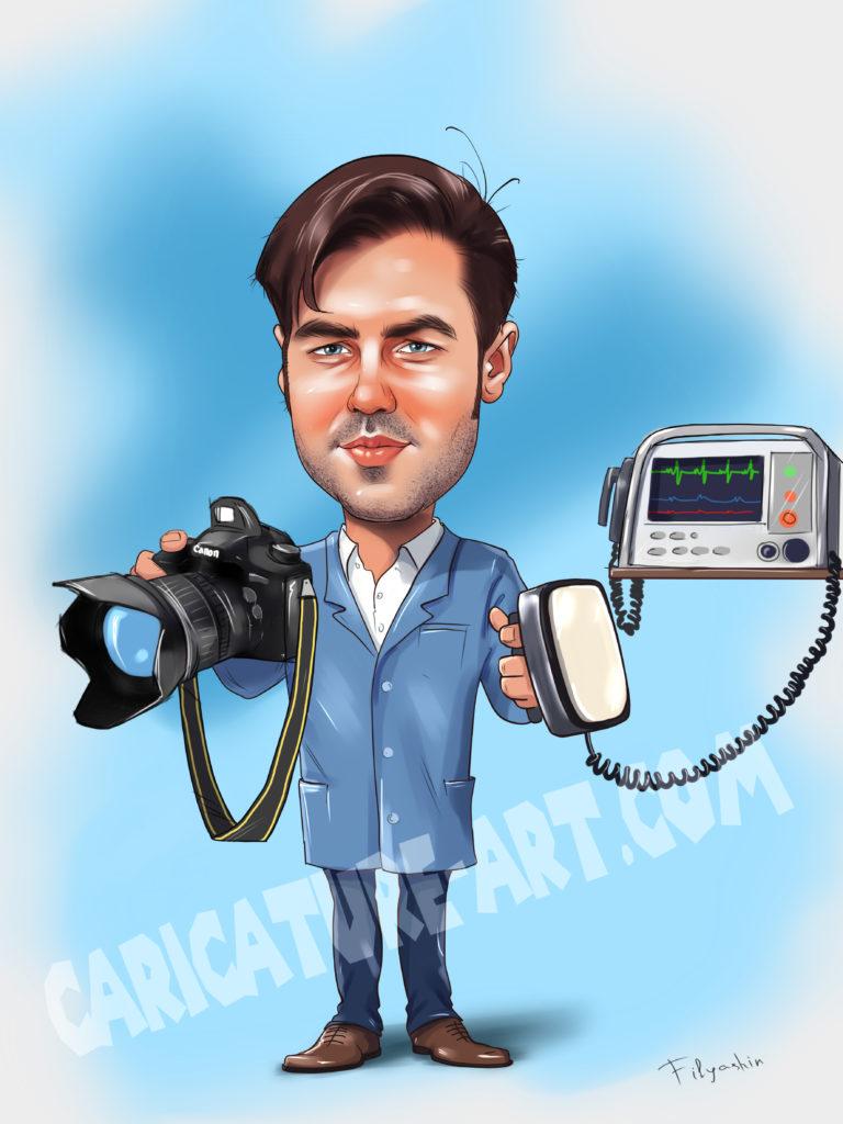 Рисунок врача с дефибриллятором, в руке фотоаппарат, шарж реаниматолога