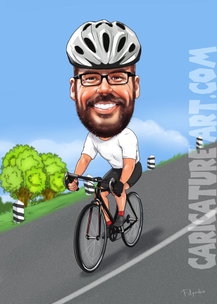 Шарж для мужчины на велосипеде, шарж спортсмену