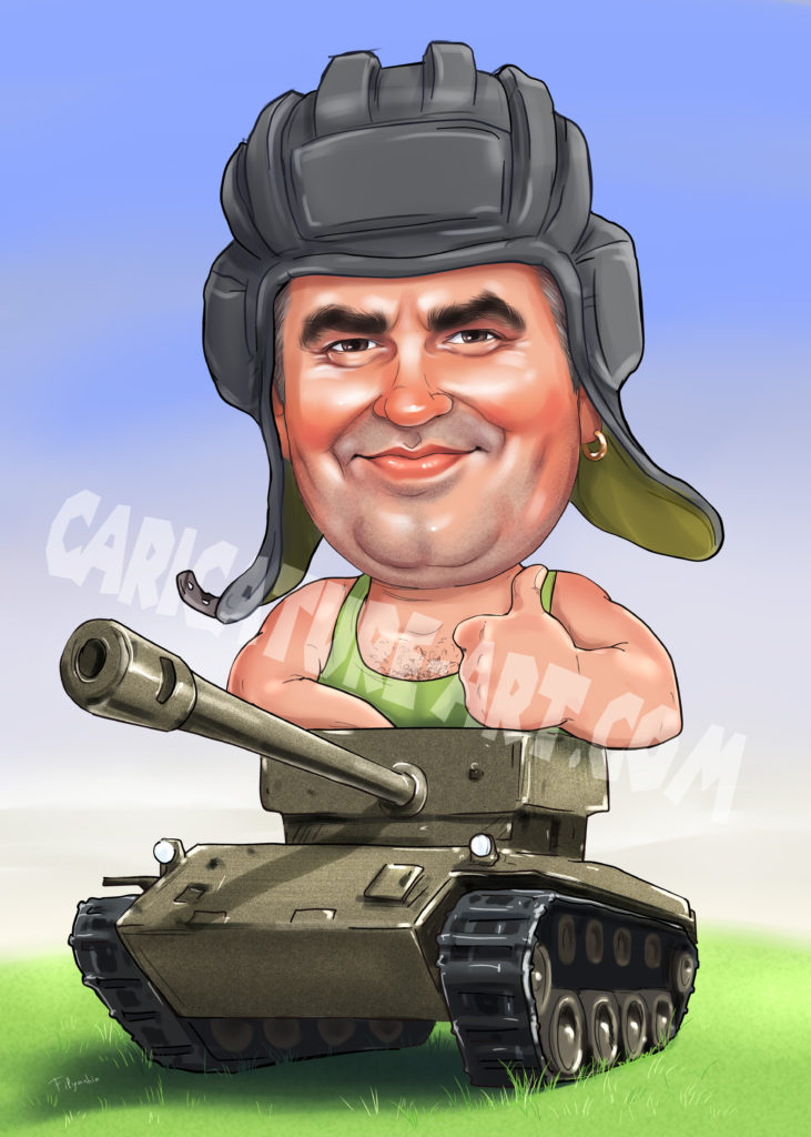 Шарж военному танкисту, подарок для настоящего мужчины