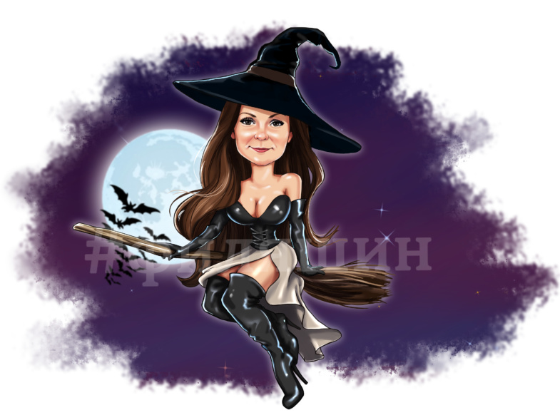 Подарить на хэллоуин шарж женщины