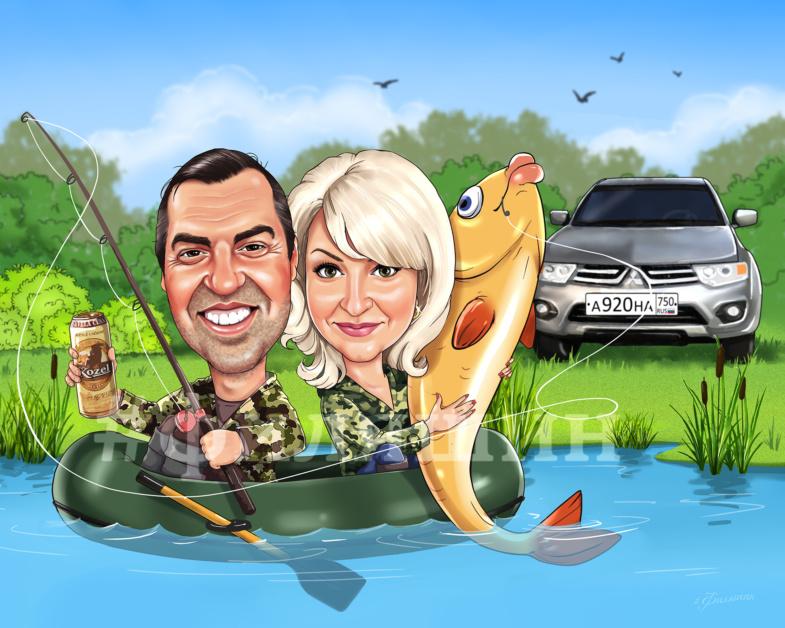 Шарж на рыбалке, пара рыбаков