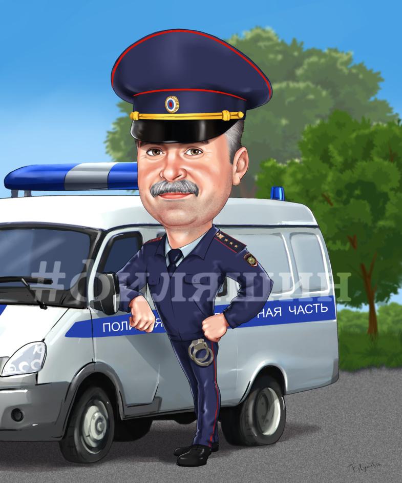Шарж по фото, полиция дежурная часть