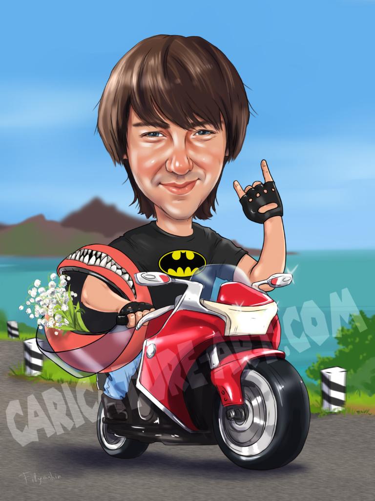 Шарж парня по фото на мотоцикле