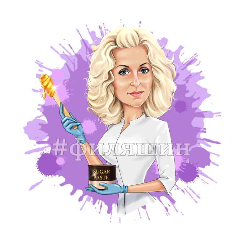 Шарж онлайн аватарка мастер шугаринга на лиловом фоне
