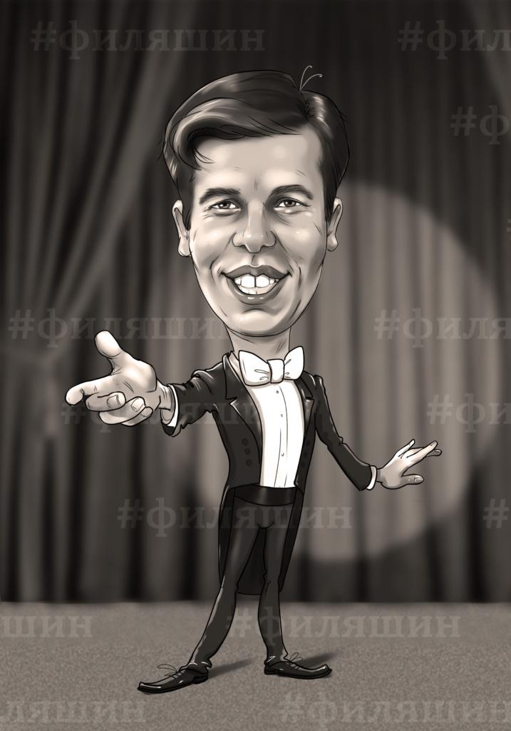 Стрижак Алексей, шарж по фото оперного певца