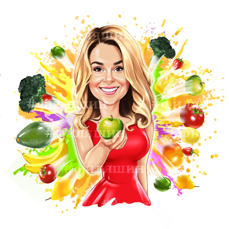 Аватарка шарж на фоне фруктового взрыва
