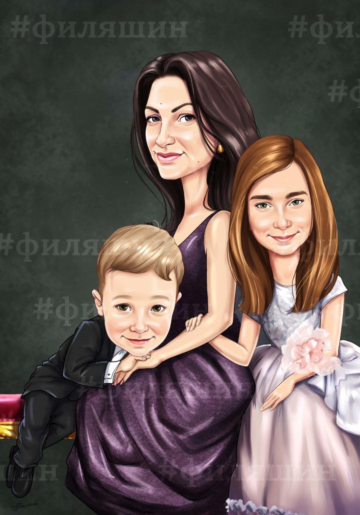 Шарж для мамы с двумя детьми