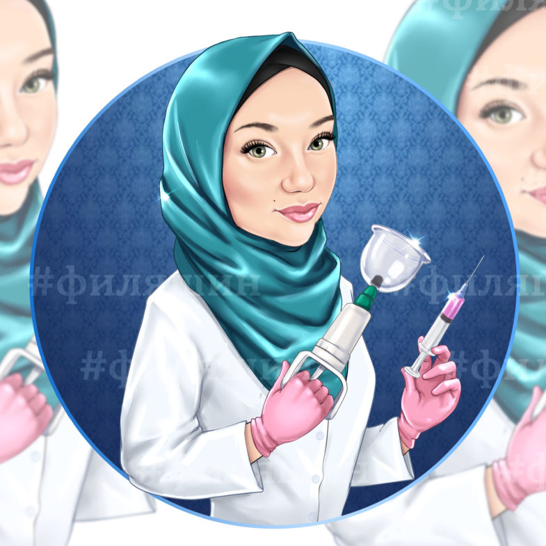 Девушка косметолог шарж аватарка для врача по фото