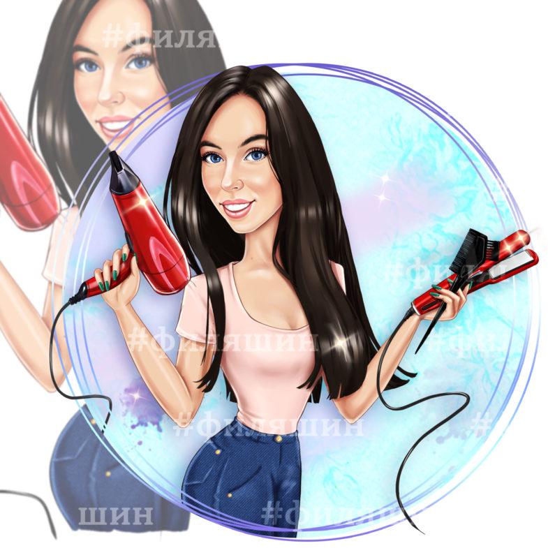 Рисунок на аватарку парикмахер с утюжком для волос