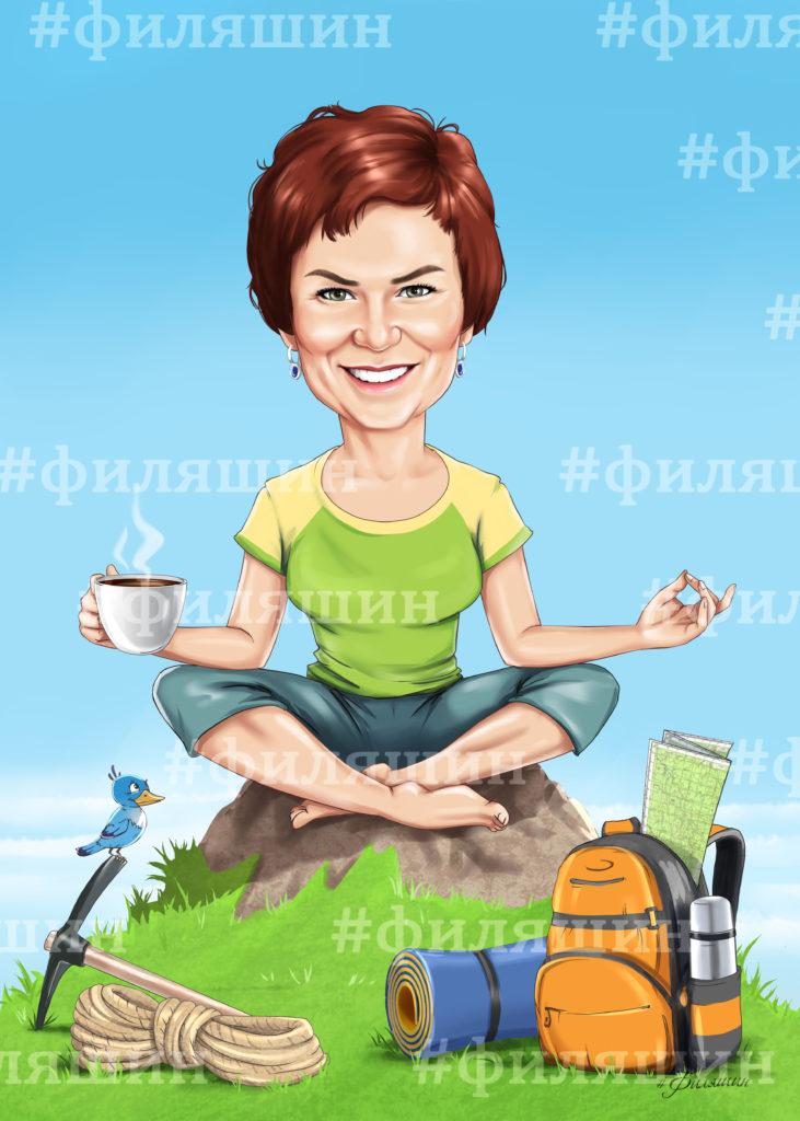 Шарж по фото, женщина сидит в позе лотоса на вершине горы