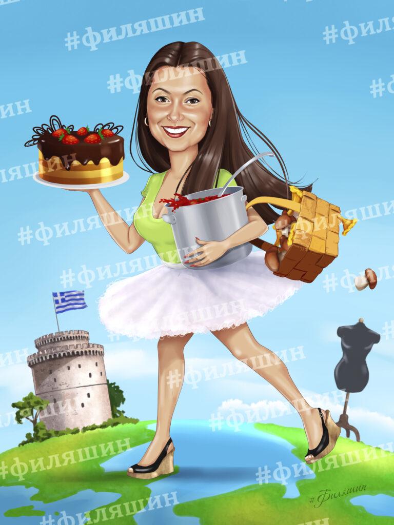 Шарж женщины с тортом