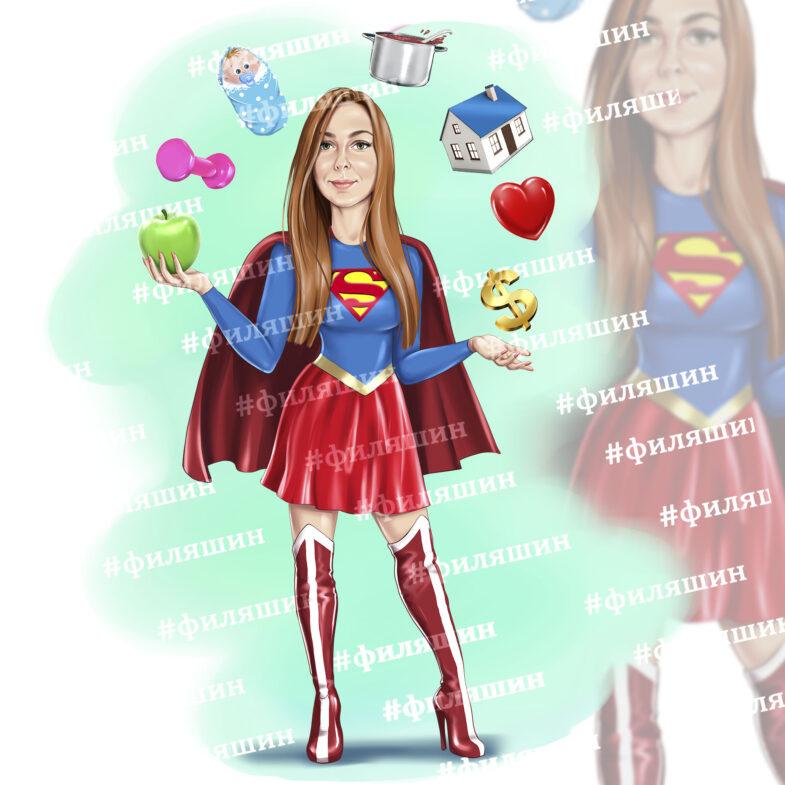 Шарж девушка супервумен
